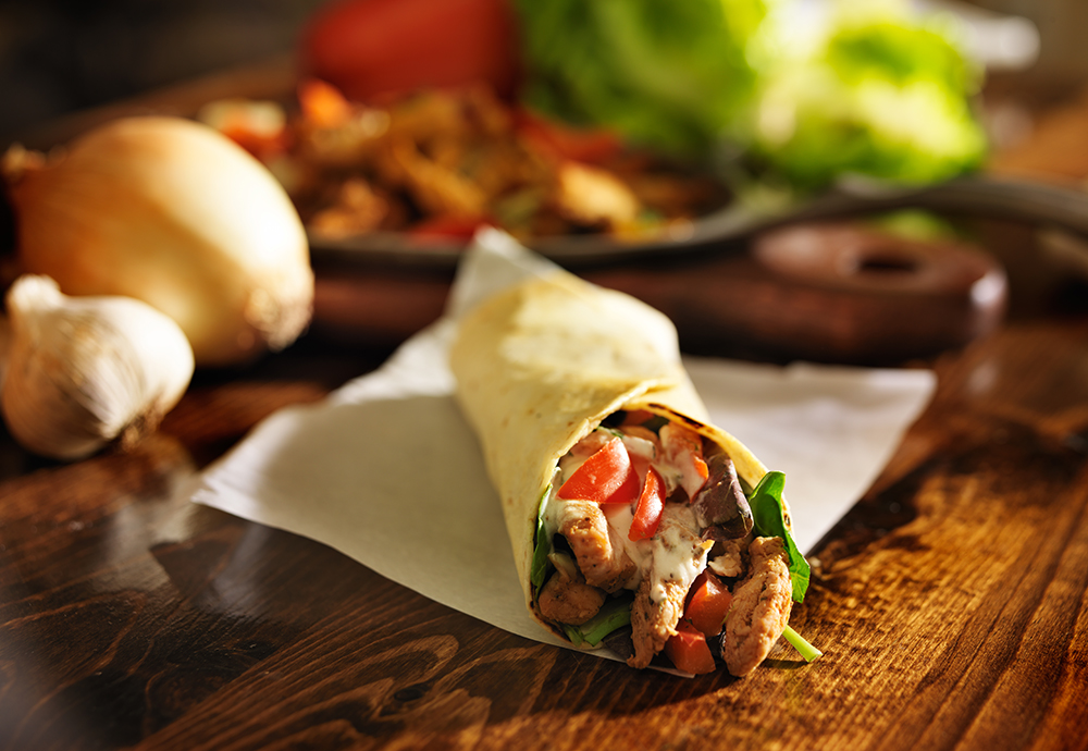 roasted pepper chicken wrap