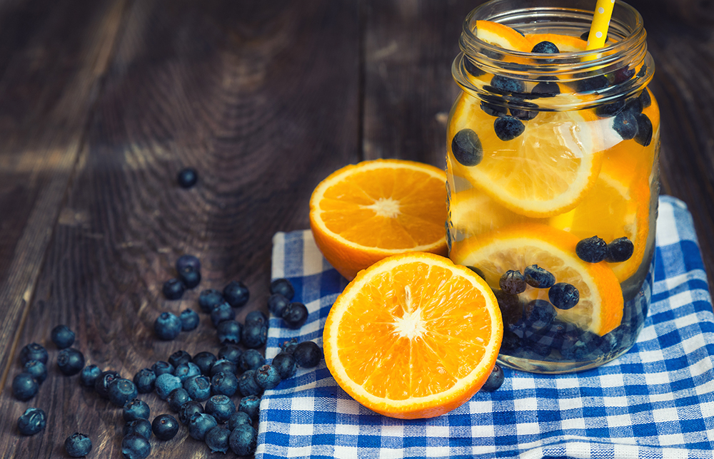 orange blueberry infused water